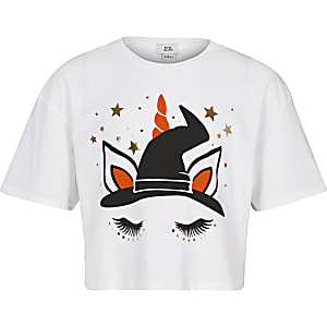 Girls white Halloween unicorn T-shirt