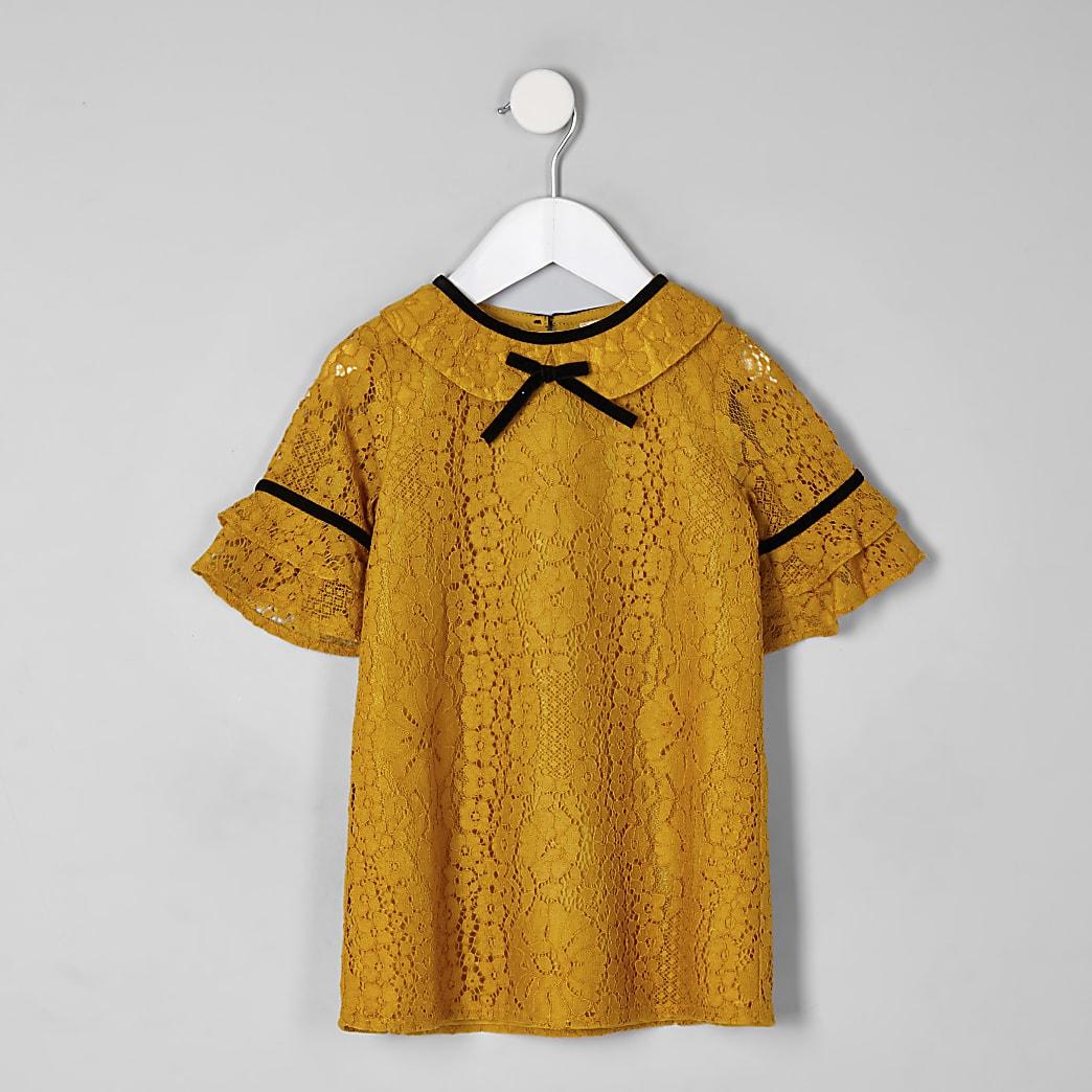 Mini girls yellow lace shift dress