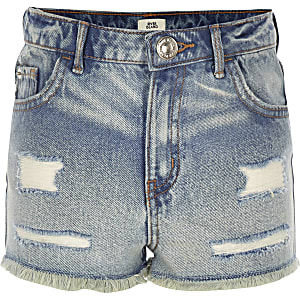 Girls blue Annie acid wash high rise shorts