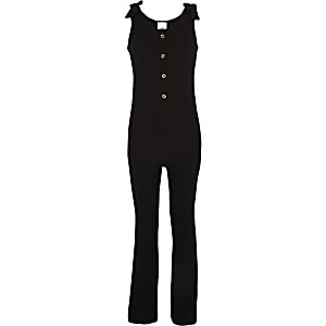 Girls black ribbed tie jumpsuit