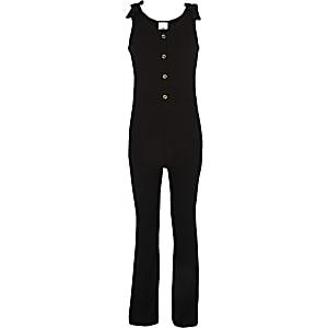 Zwarte geribbelde jumpsuit met strik voor meisjes