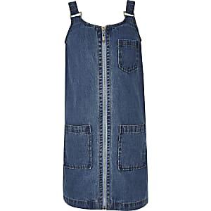 Robe chasuble en denim bleue pour fille