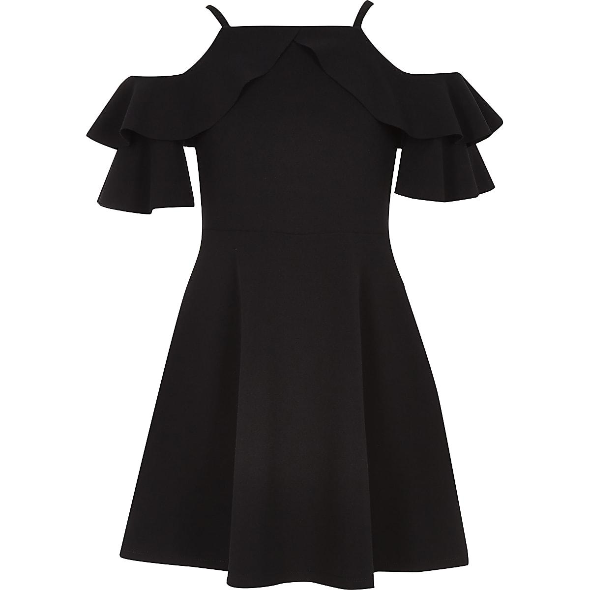 Girls black cold shoulder frill dress