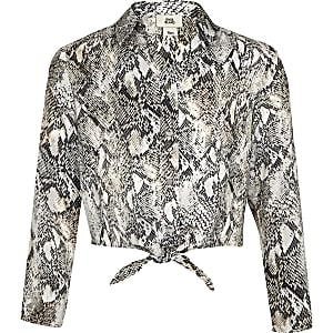 Girls grey snake print tie front shirt