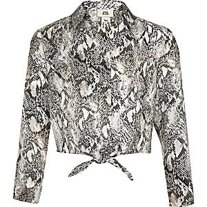 Chemise à imprimé serpent grise nouée devant pour fille