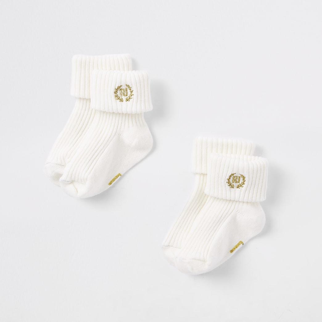 Multipack crème sokken met RI-logo voor baby's