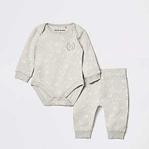 Grijs joggingpak met RI-print voor baby's