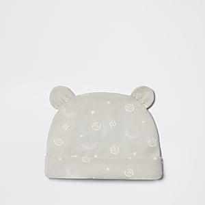 Bonnet gris imprimé RI pour bébé