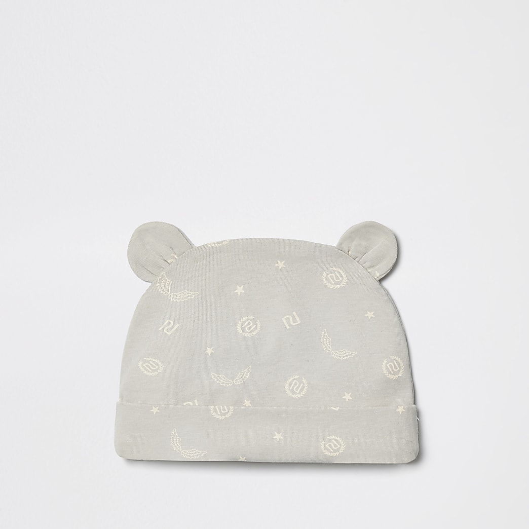 Baby grey RI print beanie hat