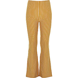 Girls yellow stripe flare pants
