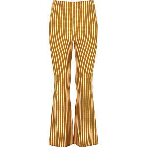 Pantalon évasé rayé jaune pour fille