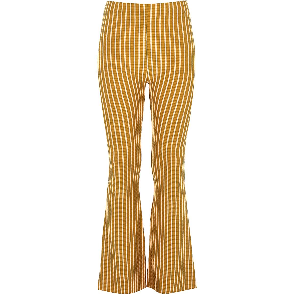 Girls yellow stripe flare trousers