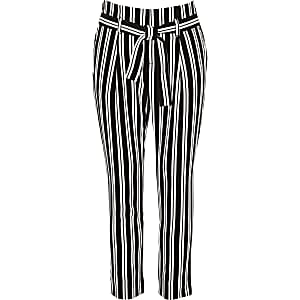Girls black stripe tapered pants