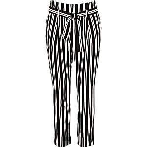Girls black stripe tapered pants