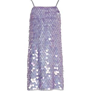 Girls purple sequin cami dress