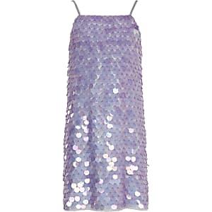 Paillettenverziertes Trägerkleid in Lila