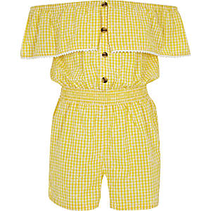 Girls yellow gingham bardot romper