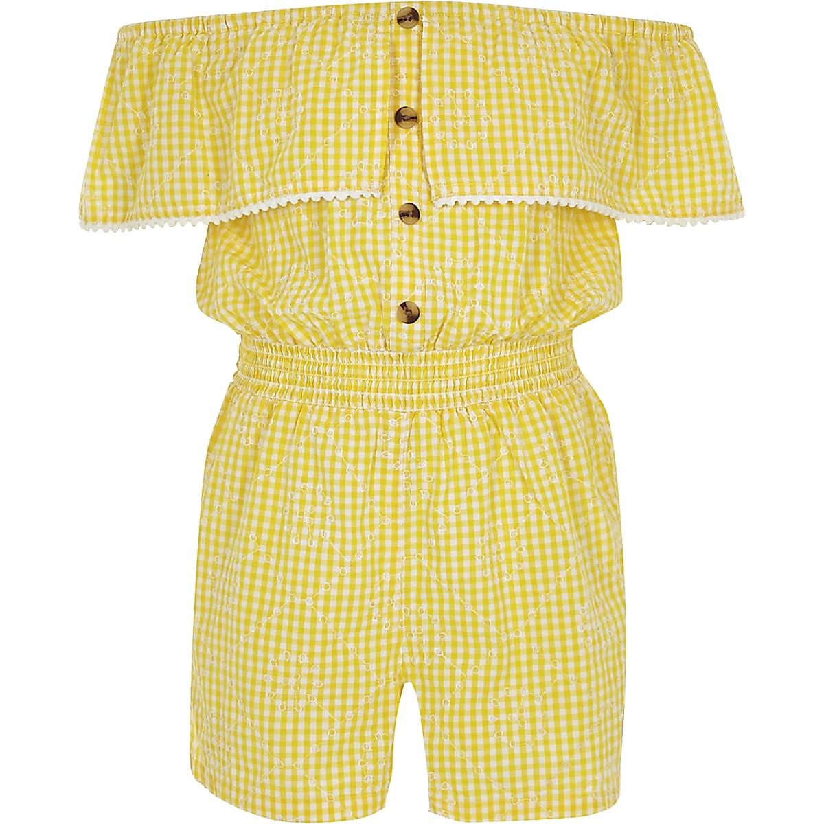 Girls yellow gingham bardot playsuit