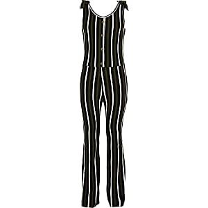 Girls khaki stripe ribbed jumpsuit