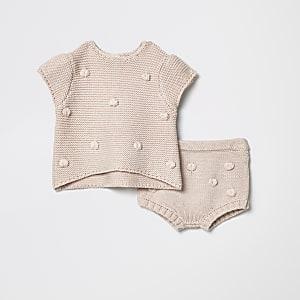 Ensemble bloomer à pompon en maille rose pour bébé