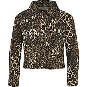 Girls brown leopard print shacket
