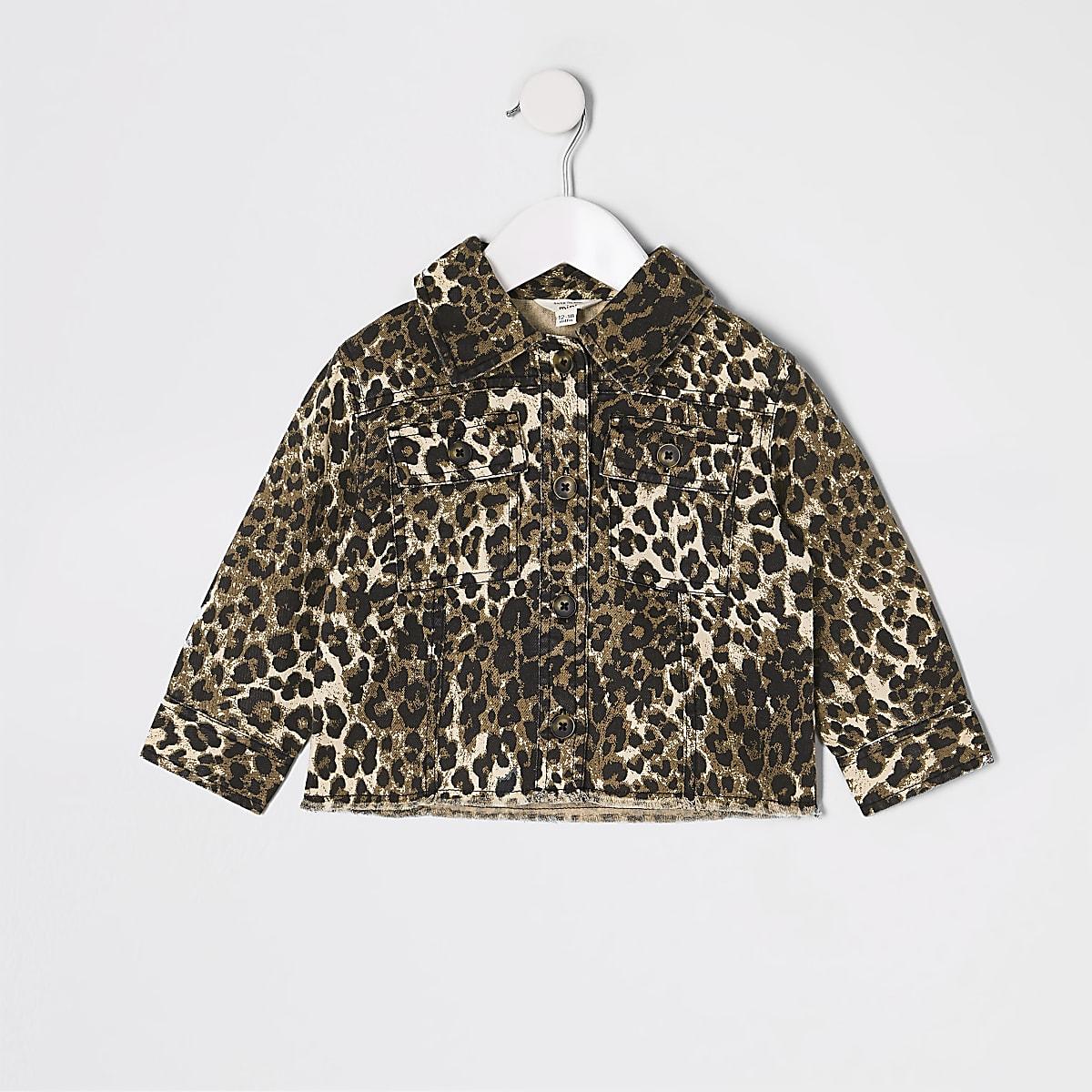 Veste chemise léopard marron pour mini fille