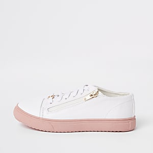 Girls white zip up plimsolls