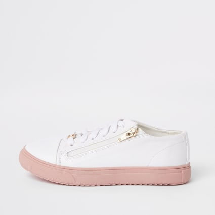 Girls white zip up trainers