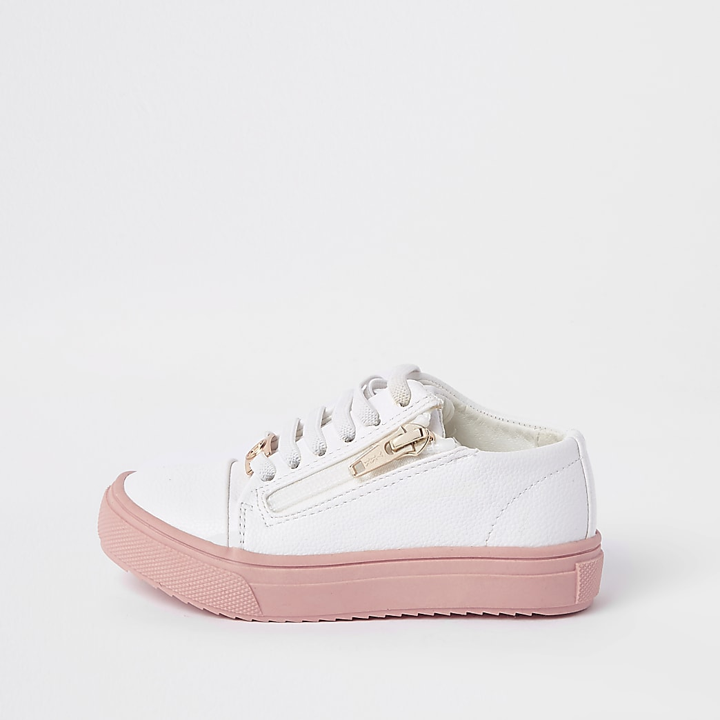 Mini girls white zip up trainers