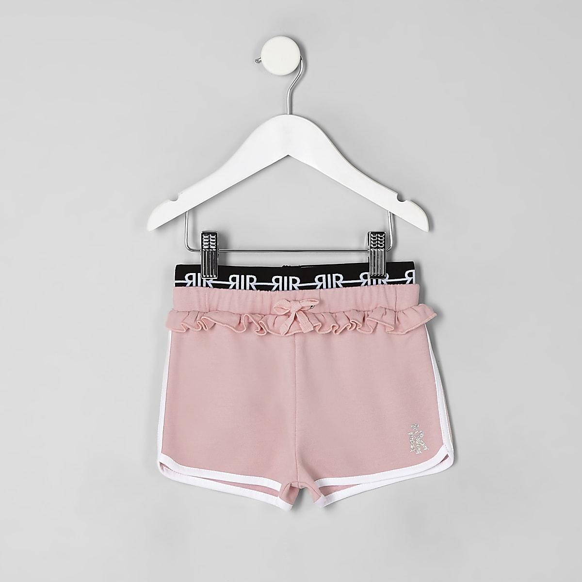 Mini girls pink frill runner shorts