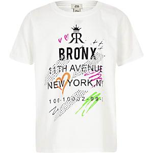 Girls white neon graffiti 'Bronx' T-shirt
