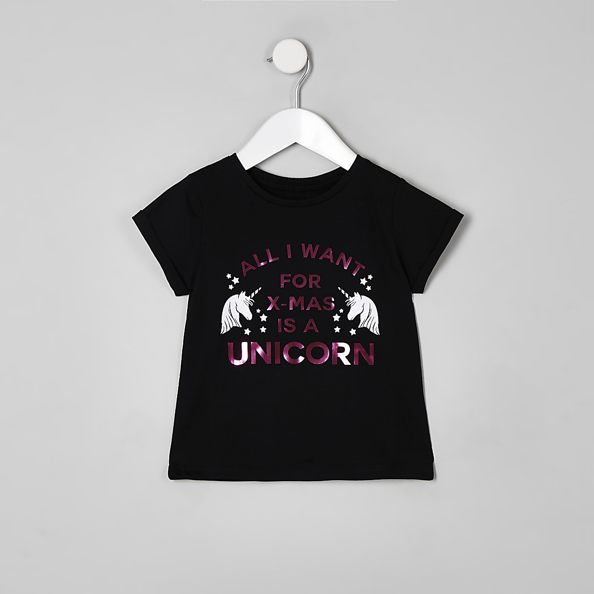 Mini girls black 'xmas' unicorn T-shirt