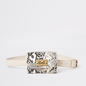 Girls beige snake print bum bag