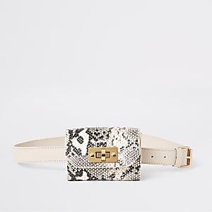 Beige heuptasje met slangenprint voor meisjes