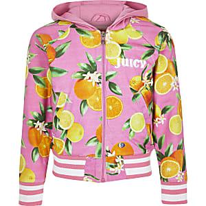 Roze jack met 'juicy'- en vruchtenprint voor meisjes