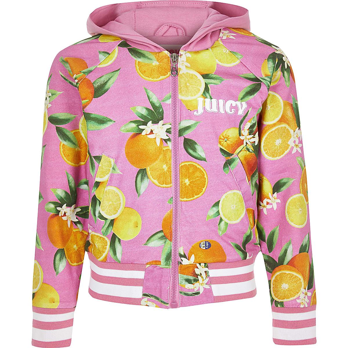 Girls pink 'juicy' fruit print jacket