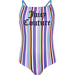 Juicy Couture blue stripe swimsuit