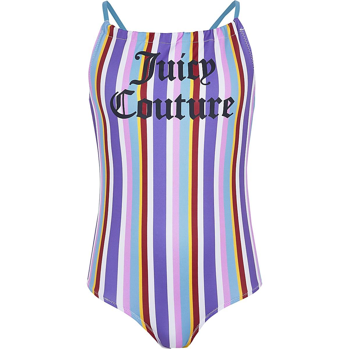 Juicy Couture blue stripe swimsuit