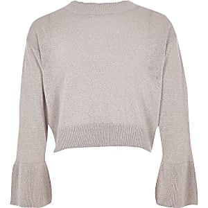 Girls pink metallic knit bell sleeve sweater