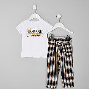 Ensemble « Bonjour » avec pantalon de jogging rayé pour mini fille