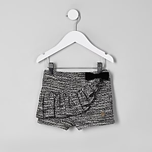 Mini girls black boucle frill shorts