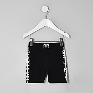 Short noir à logo RI style vélo pour mini fille