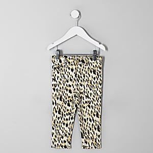 Mini girls black Molly leopard print jegging