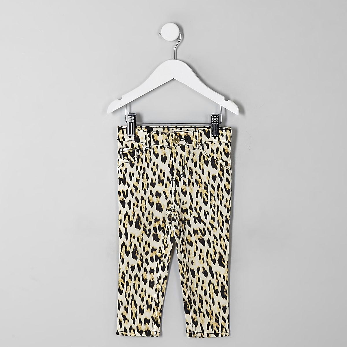 Mini girls black Molly leopard print jegging