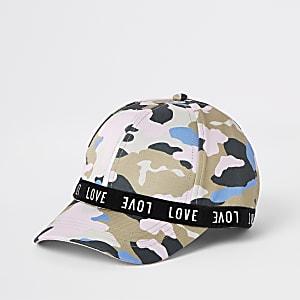 Mini - Roze pet met camouflage en love-print voor meisjes