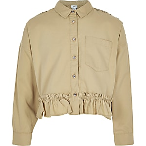 Girls light brown embroidered shacket
