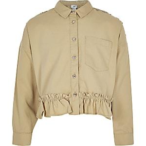 Veste chemise marron clair brodée pour fille