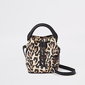 Bruine buckettas met luipaardprint voor meisjes