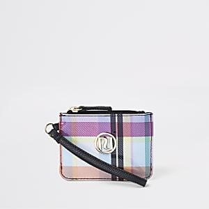 Paarse geruite portemonnee met rits bovenop voor meisjes