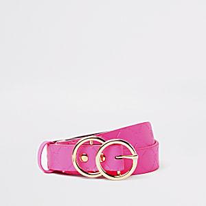 Girls neon pink RI monogram belt